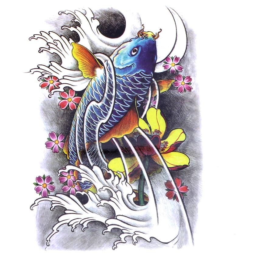 5pcs dragon carpe Tatouage Temporaire Autocollant Plein Arrière Poisson Étanche Temporaire Tatouages Hommes Femmes Faux Tatouage Tatouage Au Henné Tatouage
