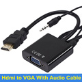 BrankBass 1080P HDMI Female to VGA Converter Adapter With Audio USB Cable for Xbox 360 for PS3 Laptop Desktop for HDTV