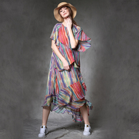 Spring Summer C4 Women Casual Loose Short Sleeve O Neck Colorful Striped Print Multi Layer Ruffles