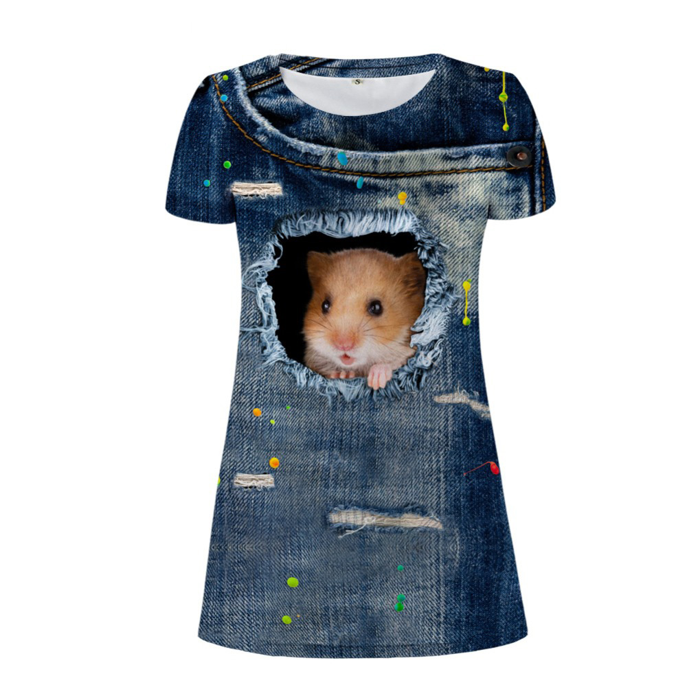 NoisyDesigns Dress Casual Women Dresses Denim 3D Jeans Cat Dog Print Short Sleeves Dress Girls Daily Mini Tunic Dresses Vestidos