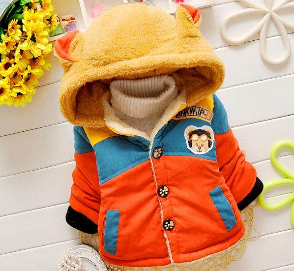 2015 New cheapest high quality baby boy's winter cute bear hooded with velvet hoodies 80-90-100-110 baby boy sweatshirts NT007