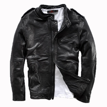 2015 Top Selling The New Stand Collar Slim Short Paragraph Simple Sheepskin Vegetable Tanned Men's Leather Jackets