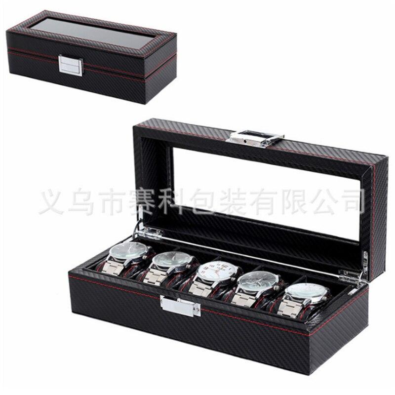 Box 5 Grid Black Watch Case watch box display leather watch Case Holder Storage Organizer black out watch box