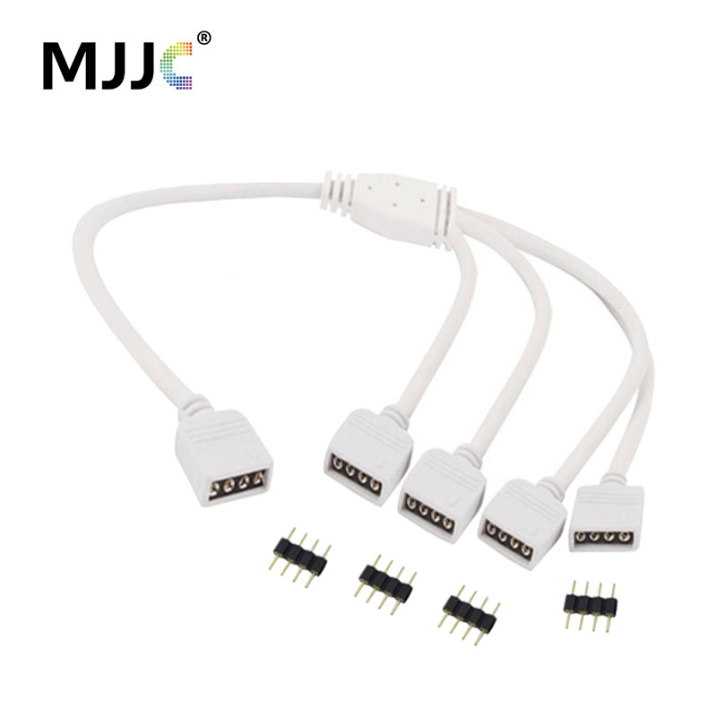 Strip Accessories 1 to 2 3 4 Ways Output 4 Pin 10MM Female Connector Splitter RGB LED Strips Extension Cable for 5050 LED Strips rgb 4 pin wire connector 1 to 2 1 to 3 1 to 4 female to female splitter connector extension cable for 3528 5050 led strip light