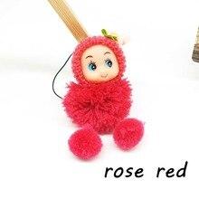 2018 Cute Kids Plush Dolls Keychain Soft Stuffed Toys Keyring Mini Plush Animals Pompom Key Chain  for Women Baby Doll  Keychain