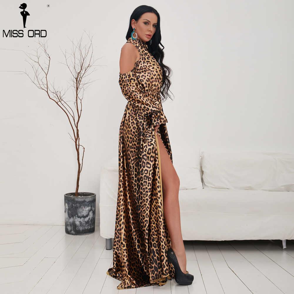 bd9b97872bcb ... Missord 2019 Sexy High Neck Off Shoulder Long Sleeve Dresses Female  Leopard Print High Split Maxi ...