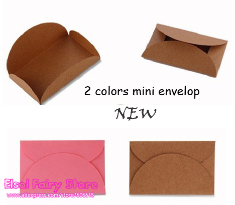 100pcs 2 colors Pink and Kraft Mini Envelopes, Mini gift paper bags for Party Wedding Invitation Card Crafts 100pcs