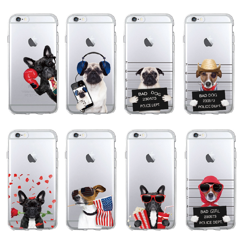 Cute Puppy Pug Cool French Bulldog Dog Soft Phone Case Coque Funda For iPhone 11 Pro 7 7Plus 5 5S 6S 6Plus 8 8Plus X XS Max