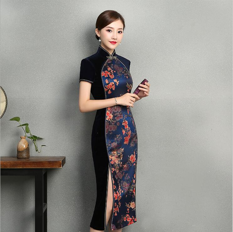 Chinese vintage Style Long cheongsam Spring Autumn Short sleeve Traditional stitching velvet fashion daily Qipao floral dress in Cheongsams from Novelty Special Use
