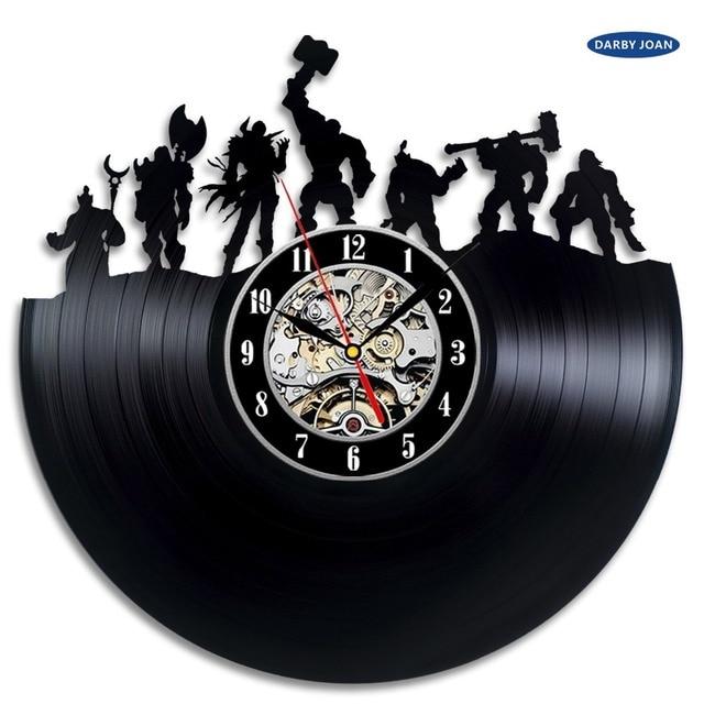 World of Warcraft WOW Gift Vinyl Wall Clock Vintage Decor Demon Illidan Figure,wall clock  saat alarm clock reloj large 3
