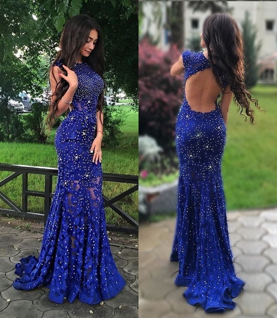 2017 New Mermaid Royal Blue Lace Prom Dresses Long Sleeveless Sexy Open  Back Sweep Train Elegant Evening Party Gowns For Teens c591586e4