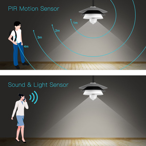 Image 4 - サウンドpirモーションセンサー電球110v 220vスマートナイトライトE27赤外線センサーled常夜灯電球ホーム階段廊下