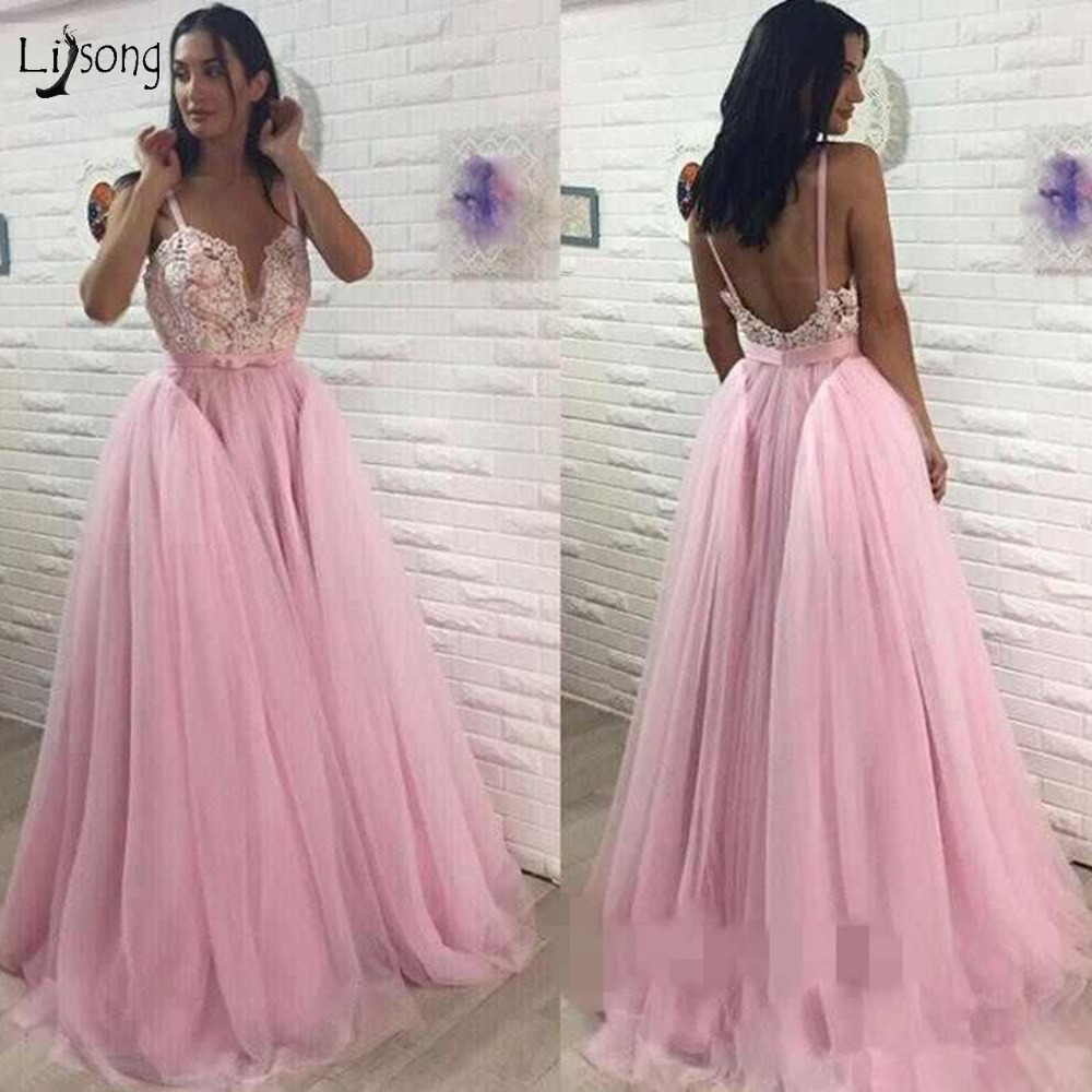 Pretty Sweet Pink Sexy Backless   Prom     Dresses   2018 Lace Bow A-line Tulle   Prom   Gowns Custom Made Plus Size Formal Party   Dress
