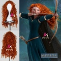 "Brave Merida Wig 70cm 27.56"" Long Curly Wavy Anime Cosplay Wigs for Women Female Fake Hair High Quality Synthetic Wig Orange"