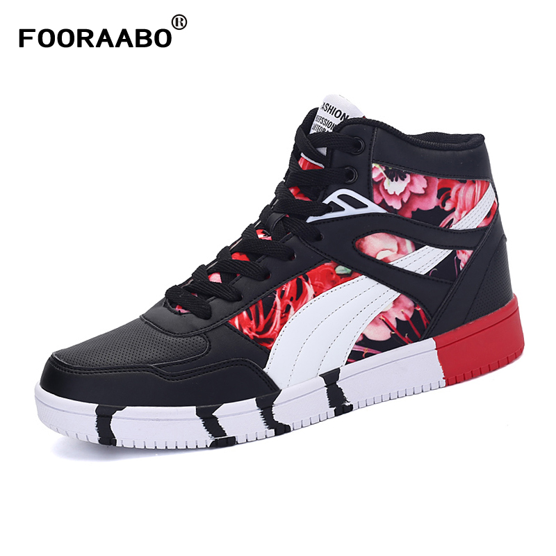 Men Sneakers Casual-Shoes High-Top Autumn Fashion New Male Lace-Up Breathable Pu
