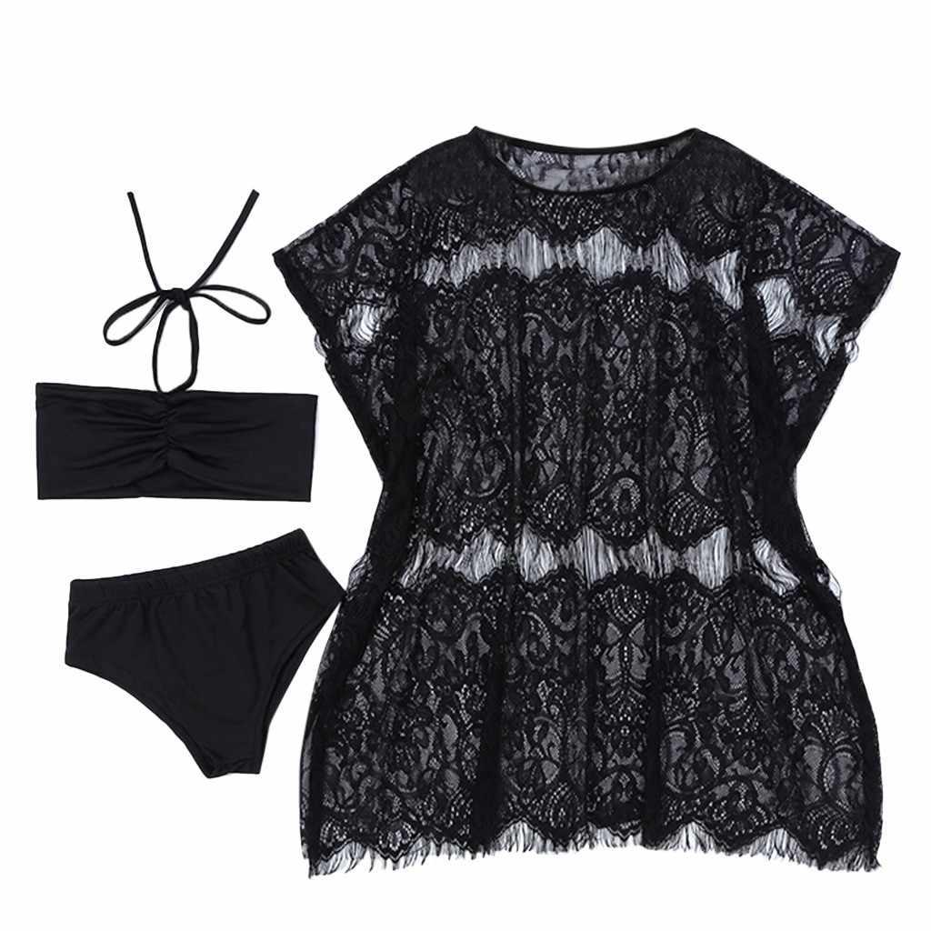 Fashion Musim Panas Bayi Balita Bayi Gadis Renda Bikini Pantai Lengan Pendek O-leher Atasan + Celana Pendek + Renda Selendang Swimsuit Set pakaian