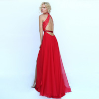 Evening Party Long Dress Red Formal Dresses Long Pregnant Evening Dresses Luxury Crystal Beaded Empire Long
