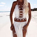Sexy Hollow Out Deep V Neck Knitted Patchwork Beach Tops Backless Sequined Lace Stitching Sleeveless Sexy Party Tank Tops