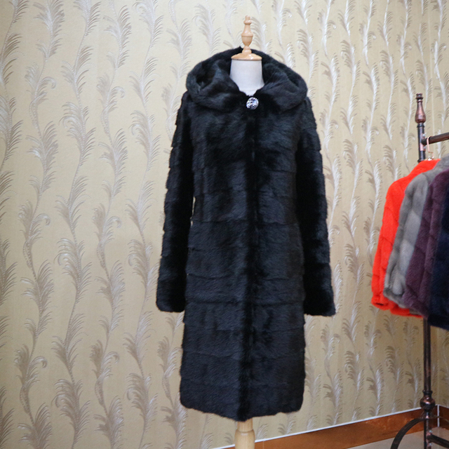 Autumn Winter Women`s Jacket Long Genuine Real Mink Fur Coat With Hood For Female Outwear Thick Warm Natural Fur Coats