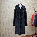 Otoño Invierno de Las Mujeres Chaqueta Larga de piel de Visón Auténtico Abrigo Con Capucha Para Mujer Outwear Caliente de Espesor de Piel Natural abrigos