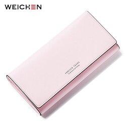 Weichen muitos departamentos longo carteira feminina marca senhoras bolsas titular do cartão zíper moeda & telefone bolso carteiras femininas embreagem quente