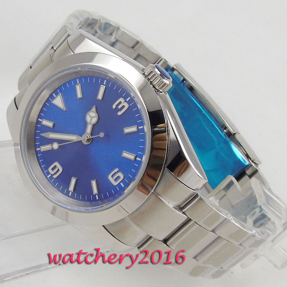 40mm Blue Sterile Dial Polished Bezel Steel Case Luminous Hands Automatic Movement men's Watch|Mechanical Watches| |  - title=