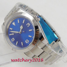 купить 40mm Blue Sterile Dial Polished Bezel Steel Case Luminous Hands Automatic Movement men's Watch дешево