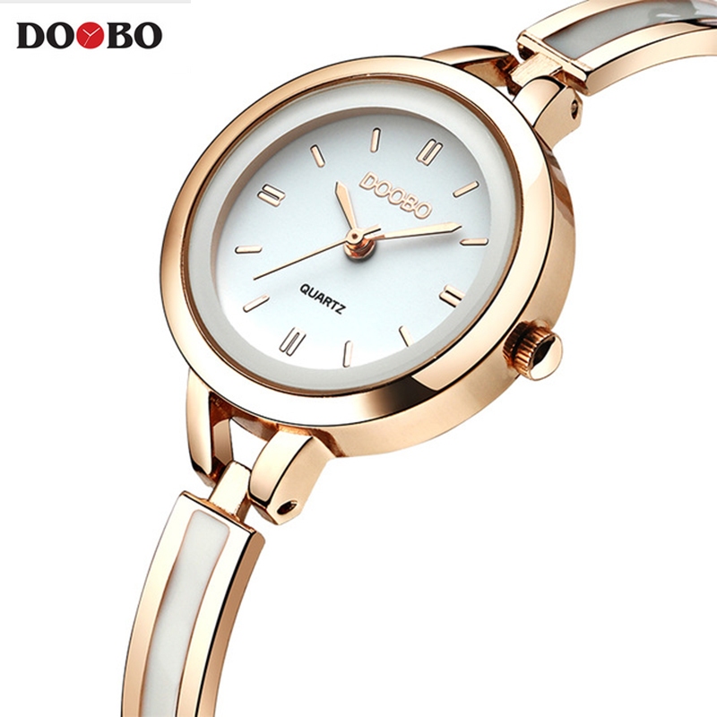 Original DOOBO Bracelet Watches for Lady Fashion Dress Gold Charming Chain Style Jewelry Clock Quartz Women Dress Watch fashion women s bracelet watches pu leather gold dial lady women quartz wrist watch with golden chain creative jun24