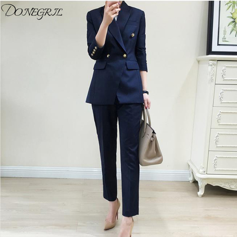 Work pants suit 2 sets of double-breasted striped suit jacket and zipper pants office ca ...
