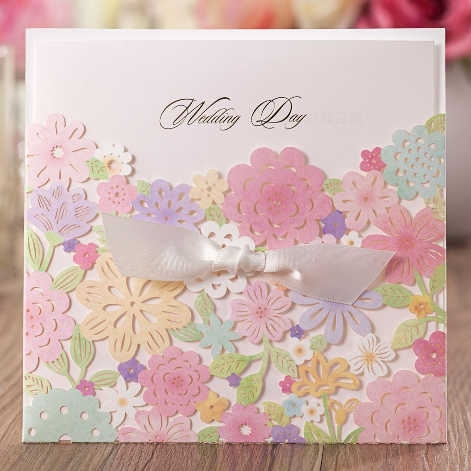 Online Shop 50pcslot Wedding Card Luxury Laser Cut Colorful Flower