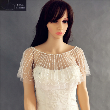BRITNRY Beads Bolero High Quality Wedding Cape Crystals Wedding Wrap
