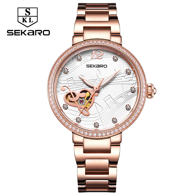 New Sekaro Fashion Hollow Music Note Women Mechanical Watch Stainless Steel Diamond Wristwatch For Women Clock Gift Montre Femme music note dial stainless steel watch