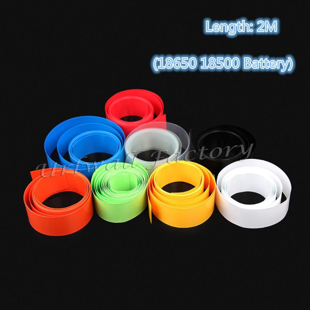 2M PVC Heat Shrink Tube For Li-ion 18650 18500 Battery Wrap Flat Dia 18.5mm- 29.5mm Shrinkable Tubing Sleeve 8 Colors Optional