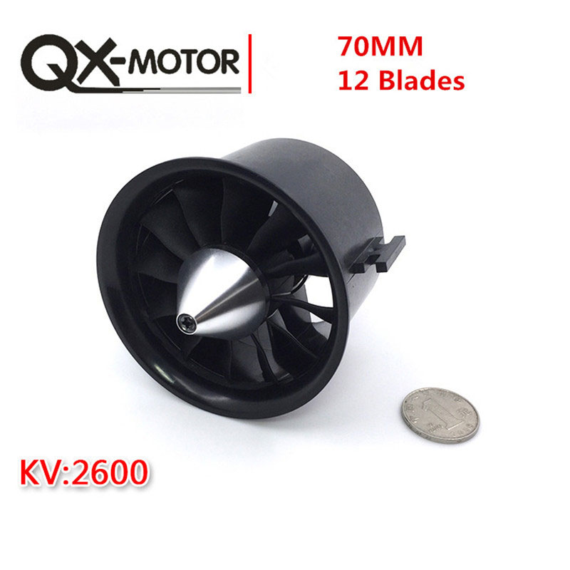 QX-Motor 70mm Electronic Ducted Fan 12 Blades EDF With 2827 KV2600 Brushless Motor Toy For RC Drone Model Parts Wholesale newest 64mm ducted fan 5 blades 4500kv 320w brushless motor model airplane fan free shipping