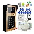 Сенсорный Новый RFID/Код/Клавиатура Wireless Wifi Видео Домофон телефон Золотой Металл Дверной Звонок Интерком для Android IOS Телефон Бесплатная Доставка