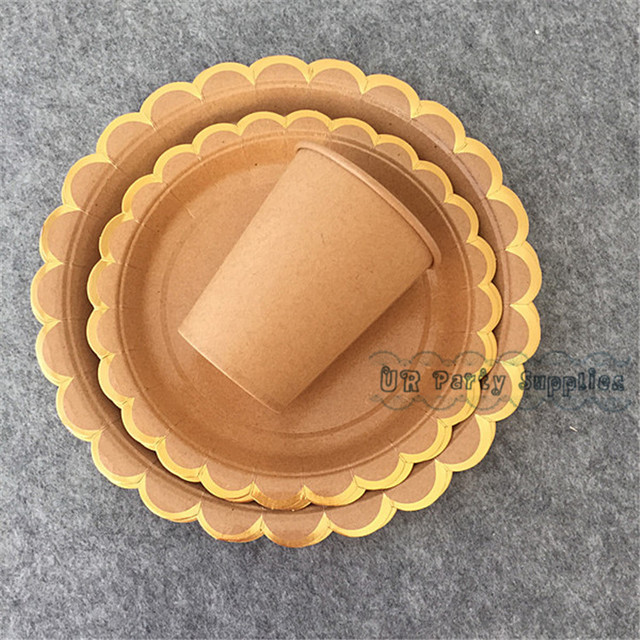 64 Sets Personalized Birthday Party Table Setting Kraft Scallop Paper Plates Brown Paper Cups Foil Gold & 64 Sets Personalized Birthday Party Table Setting Kraft Scallop ...