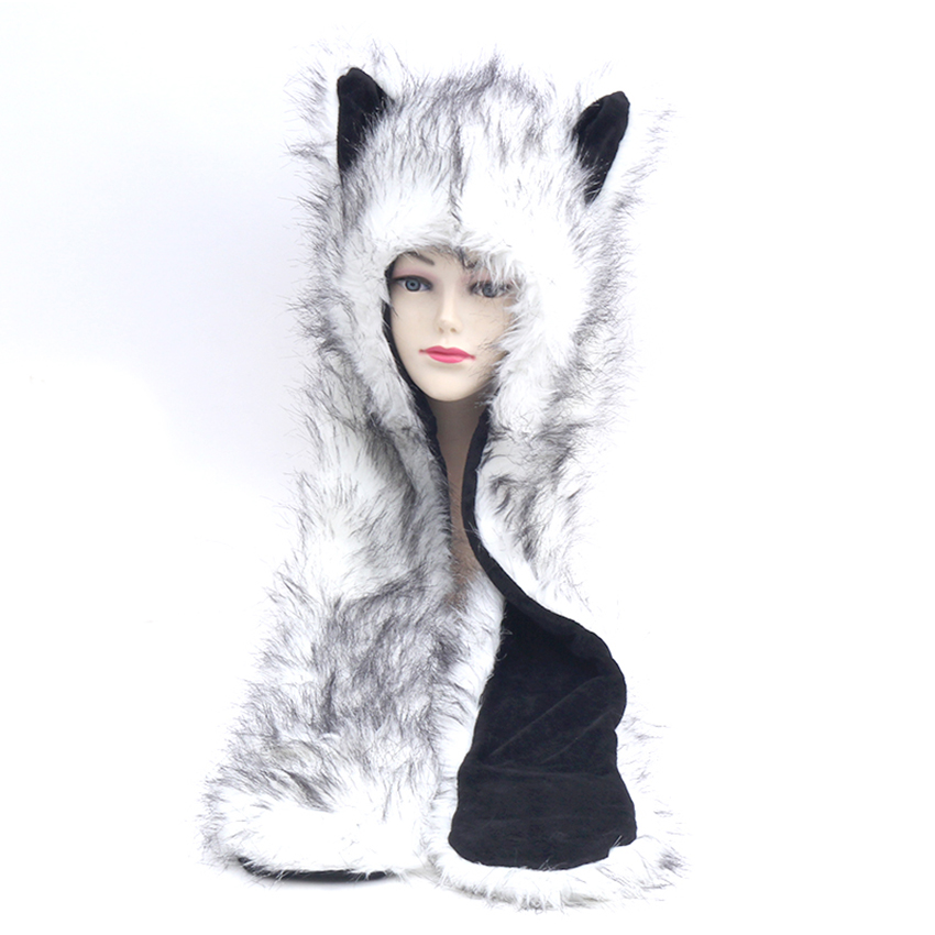 59c53ffc41f Winter Faux Fur Caps Animal Hat Ear Hand Pockets Animal Hat Wolf Plush Warm  Animal Cap With Scarf Gloves Free Shipping Wholesale-in Skullies   Beanies  from ...