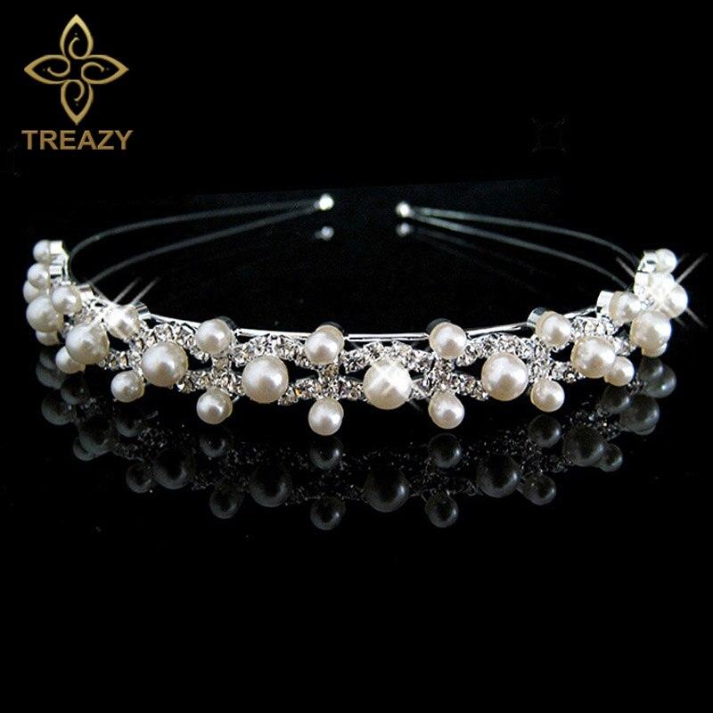 TREAZY Fashion Simulated Pearl Crystal Wedding Princess Tiara Hairband Rhinestone Pageant Crowns for Bride Hair Accessories