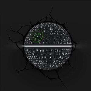 Image 2 - Novelty 3D Wall Lamp Star Wars Decor Light Death Star Master Yoda BB 8 R2D2 Darth Vaders Lightsaber Cordless Battery Operated
