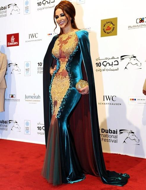 Soirée 2 pièces Robe Marocaine Caftan Jwana Karim Arabe Doré Appliques  Sirène longue En Velours robe fbf4eb91f6d