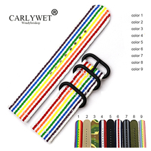 CARLYWET 20 22 24mm New Style Perlon Nylon Replacement Vintage Wrist Watch Band Belt Strap With Pin Buckle For Rolex Omega IWC carlywet 22mm new genuine leather black brown crocodile grain strap wrist watch band belt pin buckle for panerai omega iwc tag