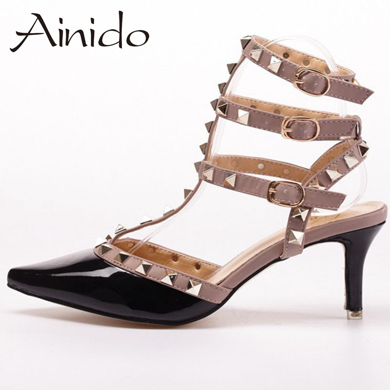 ФОТО New Sexy Studded Fashion Women Shoes Mid/ High Heels Pumps Woman Black White Red Pink Rose