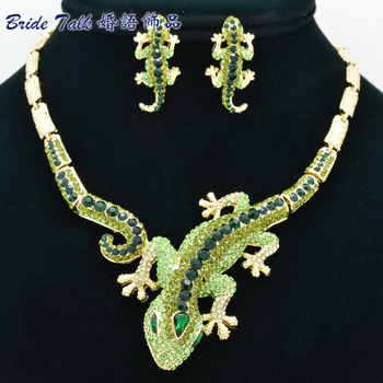Classic Animal Woman Gecko Lizard Necklace Earring Sets with Alloy and Green Rhinestone Crystals Fashion Jewelry sets FA3274
