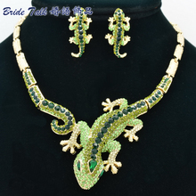 hot deal buy 2015 new animal woman gecko lizard necklace earring sets with alloy and green rhinestone crystals fashion jewelry sets fa3274