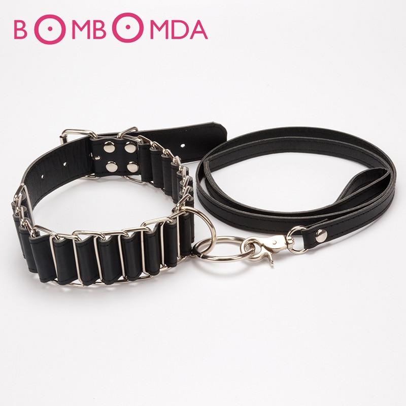 Collar BDSM Bondage collar con la correa, correa atractiva del Anillo-6093