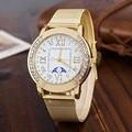 2016 Reloj Nuevo Reloj de Moda Luna de Color Oro Mujeres Relojes Señoras Reloj de Acero de Primeras Marcas de Lujo de Las Mujeres Relojes de Vestir