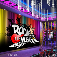 Customized mural 3D as KTV rock music Bar background wallpaper Europe style relief