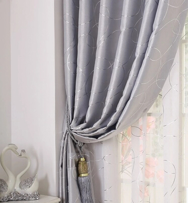 brief modern geometric solid silver window screening tullesheer curtain decoration and blackout window curtains for living room - Decorative Curtains