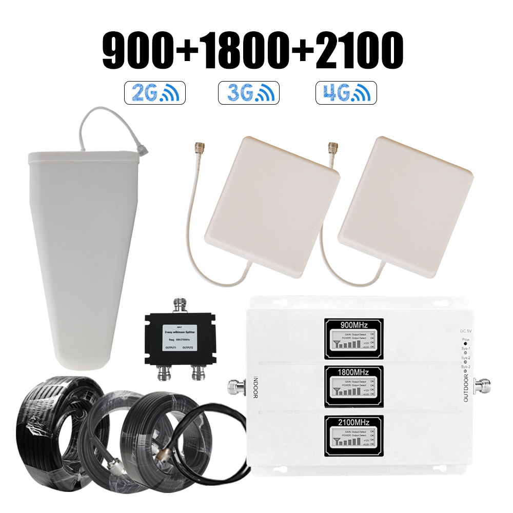 Walokcon 2g 3g 4g Tri Band Signal Booster 900 1800 2100 GSM WCDMA UMTS LTE Cellular Repeater 900/1800/2100mhz Amplifier B1 & B3