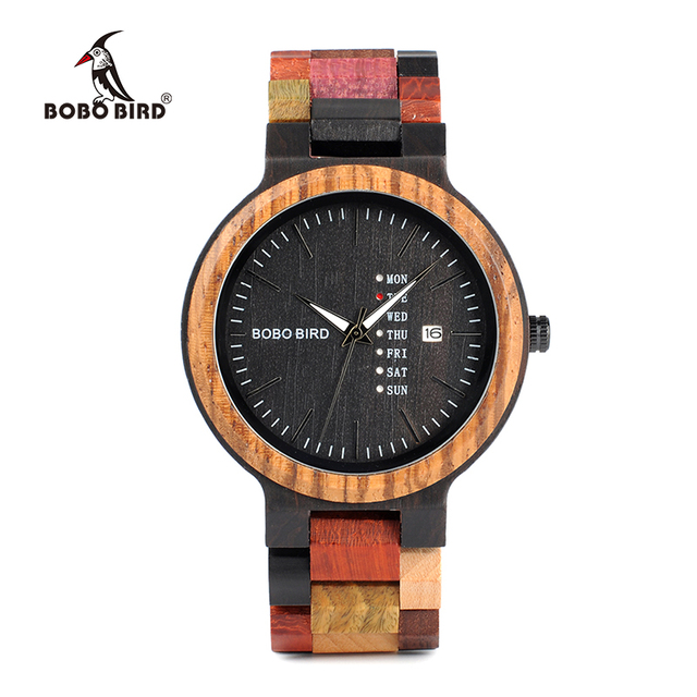 Bobo Bird Wooden Colorful Week Date Display Unisex Quartz Watches 2